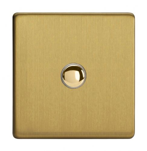 Varilight XDBM1S Screwless Brushed Brass 1 Gang 6A 1-Way Push-to-Make Momentary Switch